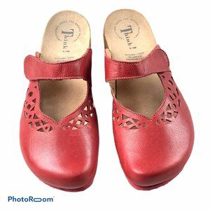 THINK! Red Leather Julia Mary Jane Clogs Shoes 10